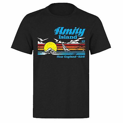 Amity Island 1975 New England Jaws Great White Shark  Ph70 Black T-Shirt