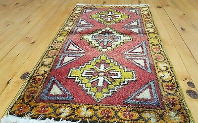 "Antique 1'8×3'1""Tribal Cushion Cover Wool Pile Rug Turkey"