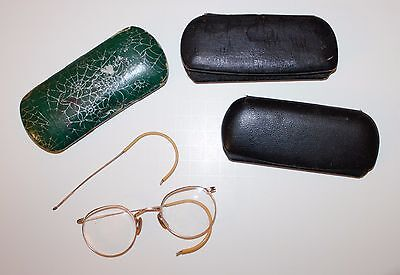 Antique Wire Rim Eye Glasses Round and 3 Cases Spider Web