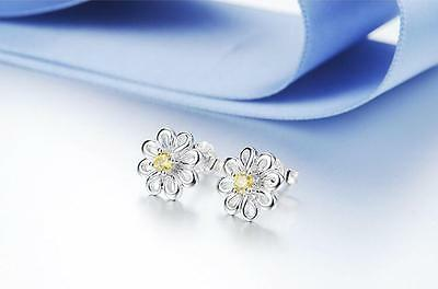 Shiny 925 Sterling Silver PLT Cute Small Daisy Flower Yellow CZ Stud Earrings UK