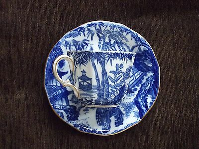Royal Crown Derby 'Mikado' Blue & White  Cup And Saucer, 1944