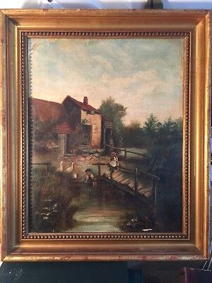 Antique Oil On Canvas Folk Painting  Framed