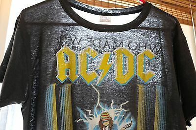 VTG Vintage 1986 80s AC/DC Who Made Who Tour Concert Paper Thin T Shirt [XL]
