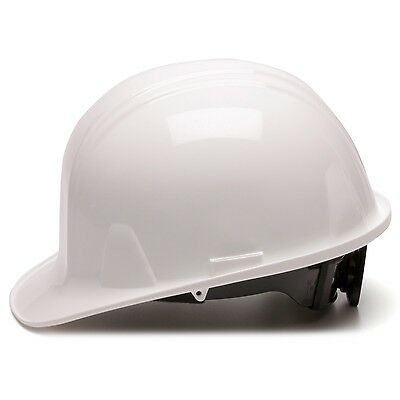 Pyramex Hard Hat White Cap Style with 6 Point Ratchet Suspension