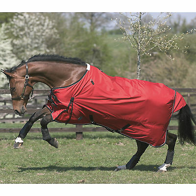 "JHL Lightweight Turnout Rug RED/NAVY 5'6""-7'0"" & Optional Neck Covers Med & Larg"
