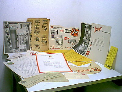 Early 50's-- 7 Up & Dodger Cola SALESMAN'S Promotional Items Literature & Poster