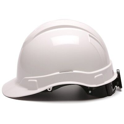 Pyramex Hard Hat White Cap Style with 4 Point Ratchet Suspension