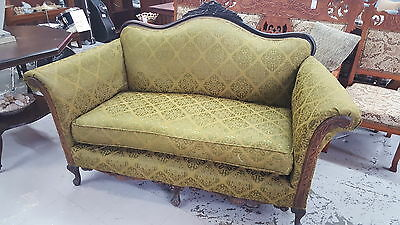 Vintage Green Upholstery & Black Walnut Love Seat