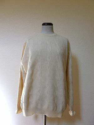 GRAN SASSO Ivory Cable Knit 90%Wool 10% Cashmere Sweater Pullover Mens 50 Medium