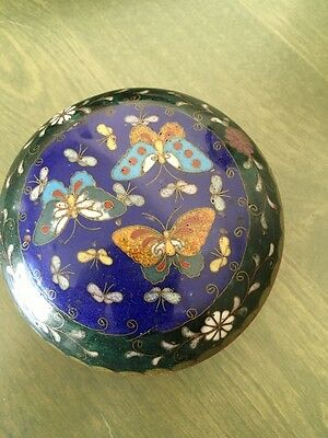 Old Bronze Japanese Cloisonné Blue & Green Enamel Floral Butterfly Trinket Box
