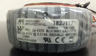 WARRANTY Hammond Toroidal Power Transformer 2x 117v @ 0.513A p1