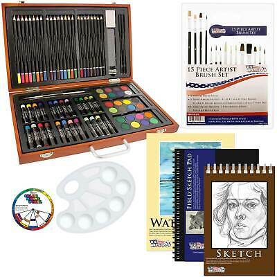 102 Piece Wood Box Artist Drawing Set with Colored Pencils, Pastels, Watercolors