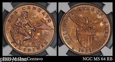 1931 M USA-Philippines 1C - One Centavo - NGC MS 64 RB