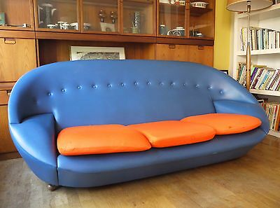 Large vintage 60s 70s vinyl egg sofa. Retro