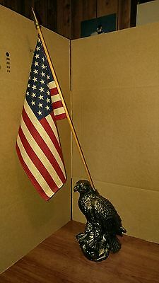 bronze bald eagle flag holder 10 1/2 inch tall hollow vintage with flag