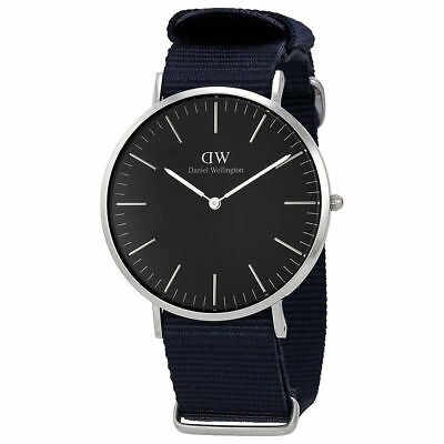 Original Daniel Wellington Classic Black Cornwall silber 40mm DW00100149 NEU