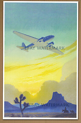 1934 Racing The Sun   Vintage Aviation Airplane Sunset Poster Art Print 11 x 17