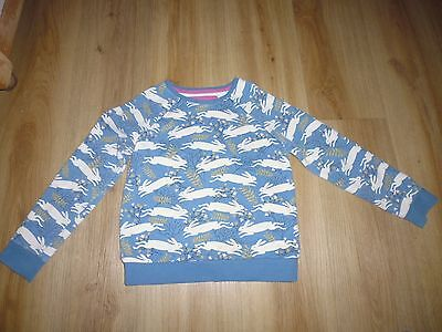 Mini Boden Sweat Shirt Runing White Hares & Flowers Age 7-8 100% Cotton