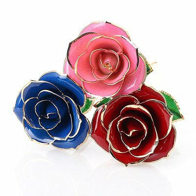 24K Gold Rose Dipped Flower Real Long Stem Mothers Day Anniversary Birthday Gift