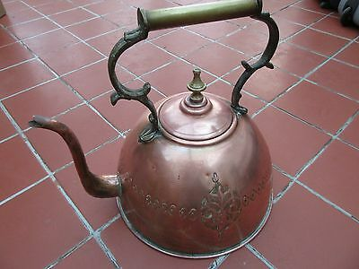 Unusual Large Copper Kettle with Brass Handle