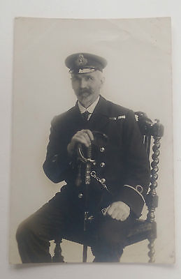 WW1 Real Photo Postcard Royal Navy Officer with Medal Ribbons & Sword Grimsby