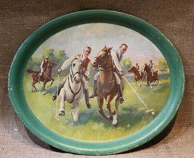Vintage Polo Players Tin Litho Serving Tray