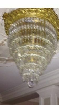Antique Brass And Crystal Chandelier Mint Condition