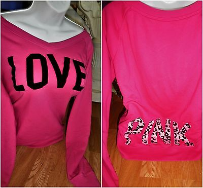 """PINK"" VICTORIA'S SECRET SWEATSHIRT PINK W/ Leopard GRAPHICS SIZE SMALL"