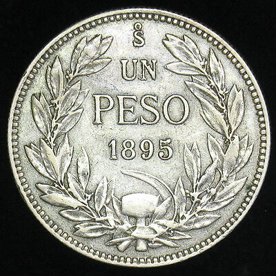 1895 Chile Un Peso large silver coin