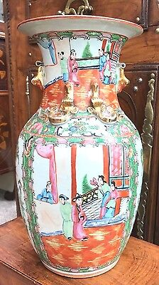 Large Chinese Antique Manderin Famille Rose Vase 19th Century