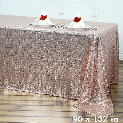 "90x132"" Blush SEQUIN RECTANGLE TABLECLOTH Wedding Party Catering Linens SALE"