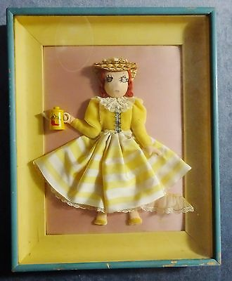 Vintage 15 x 12 Alice Daly TEA FOR TWO 3D Art - FREE SHIPPING