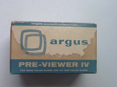 Argus Pre Viewer IV For 35mm Color Slides & 127 Camera Accessory