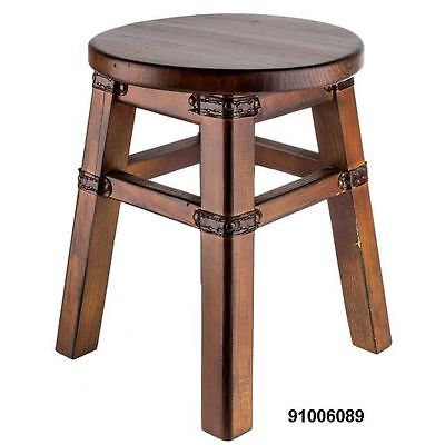Brown Wood School House Stool
