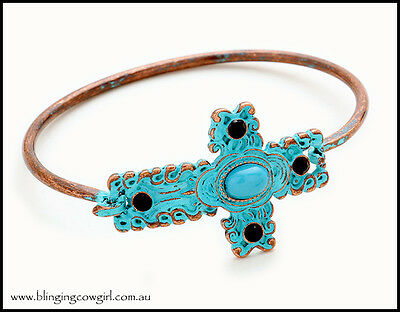 Patina Turquoise Black Diamante Cross Hook Bracelet Copper  Boho Gypsy Cowgirl