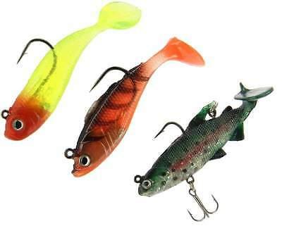 New Pack of 3 Super Soft Baits Lures Pike Bass Trout - Coarse Sea Fishing Tackle