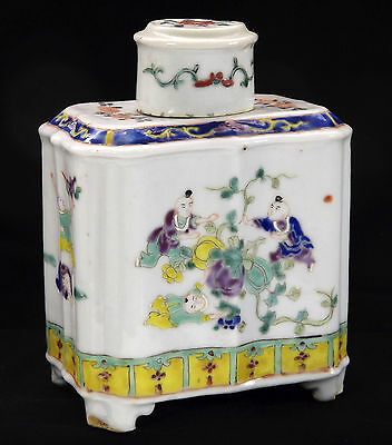 Antique Chinese Porcelain Tea Caddy Children Playing Early Republic Export