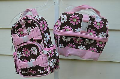 NEW (GISELLE) Pottery Barn Girls Pink  Floral Backpack and Lunch Bag Box Tote