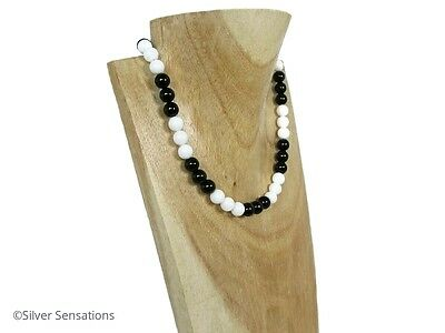 Black Onyx & Snow White Agate Beads Monochrome Necklace With Sterling Silver