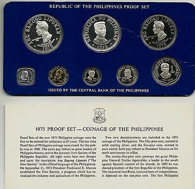 Philippines 8-Coin Proof Set 1975 In Case Includes 2 Silver Coins #4