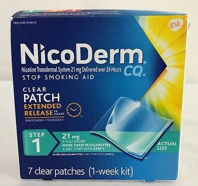 Nicoderm CQ Step 1 Clear Patch 21mg 7total (1-week kit) Fresh NEW Exp 8/2018