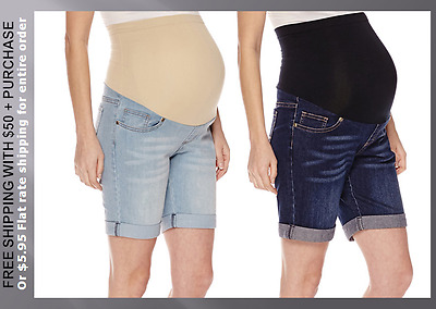 $42 New Plus Maternity 1X 2X 3X Overbelly Bermuda Stretch Jean Fitted Shorts