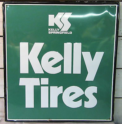 "Kelly Tire Springfield Sign - Vintage Embossed Tin Metal 33""x36"" Tires Oil Gas"