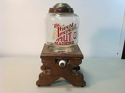 """Vintage Peanut Dispenser """"The Great American Nut Machine"""" Glass and Wood C6"""