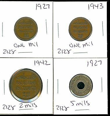 Palestine - 1927 1943 One Mil- 1942 2 Mils- 1927 5 Mils - 4 Coin Lot