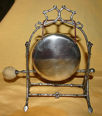 Antique / Vintage Silver Plated Dinner Gong With Striker