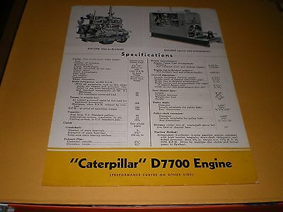 Old Caterpillar Tractor Co D7700 Engine Specifications Sheet Brochure