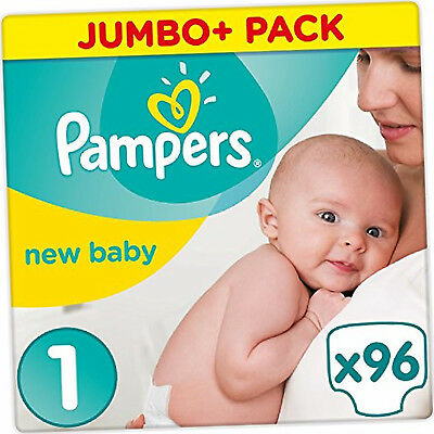Pampers Baby Nappies Size 1 Monthly Saving Jumbo Pack x96 Dry Premium Protection