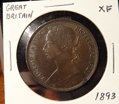 1893 Great Britain One Penny Extra Fine Coin XF