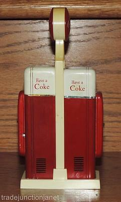 1993 COCA-COLA VENDING MACHINE METAL S&P SALT & PEPPER SHAKERS w/STAND